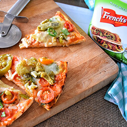 pizza flat lay food cutting-board slices UGC content