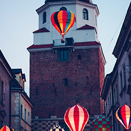 ballons tower old town lanterns colourful poland